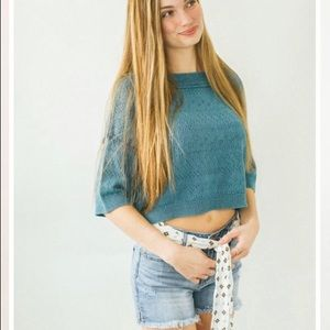 NWT Free People Cropped Deep Pacific Sweater